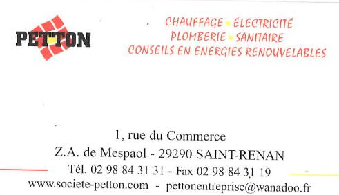 SARL PETTON - PLOMBIER CHAUFFAGISTE ST RENAN